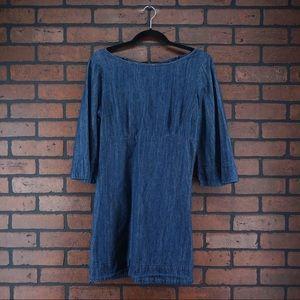 COOPERATIVE Blue Denim Mini Dress Bell Sleeve Sz 6